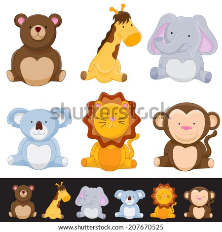 An image of a cute animal set. - stock vector