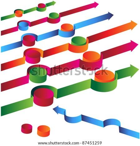 An image of a 3d arrow avoiding obstacles. - stock vector