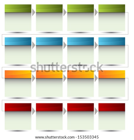 An image of a 3d boxed flow chart. - stock vector