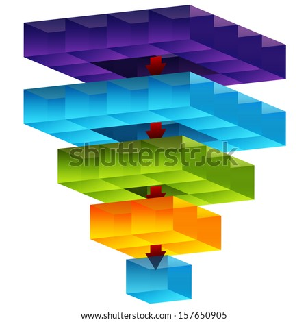 An image of a 3d cube funnel. - stock vector