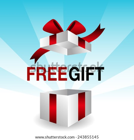 An image of a 3d free gift icon. - stock vector