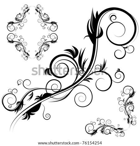An image of a decorative antique flourishes frame set. - stock vector