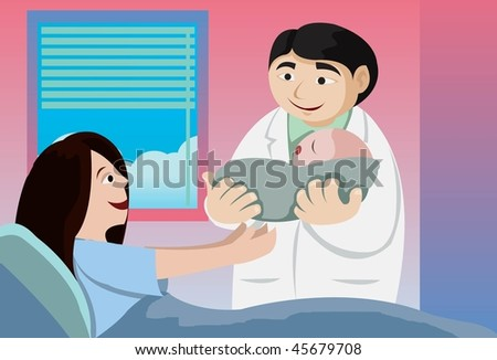 An image of a doctor holding out a newborn baby to the mother - stock vector