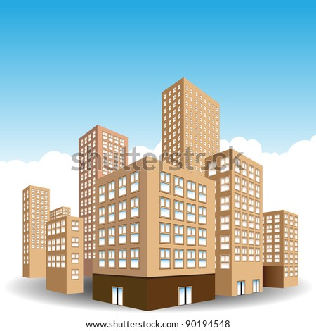 An image of a downtown city of buildings. - stock vector