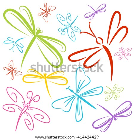 An image of a dragonfly insect group. - stock vector