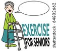 An image of a elderly woman walking with her walker. - stock vector