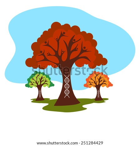An image of a family tree with dna strand. - stock vector