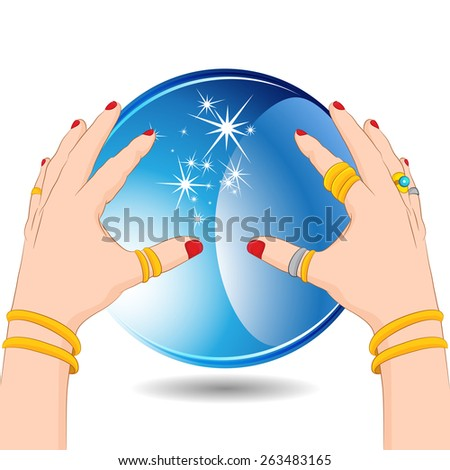 An image of a fortune teller hands with a crystal ball. - stock vector