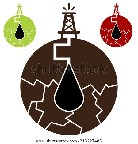 An image of a fracking oil icon. - stock vector