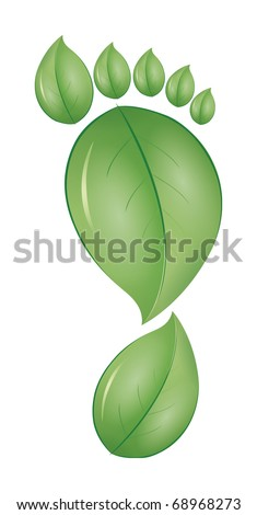 An image of a green leaf foot print - stock vector
