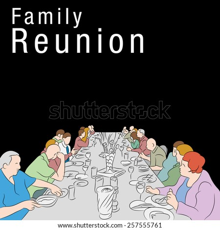 An image of a group of people eating a meal around a large table. - stock vector