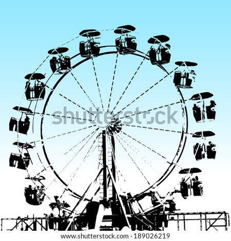 An image of a grunge ferris wheel. - stock vector