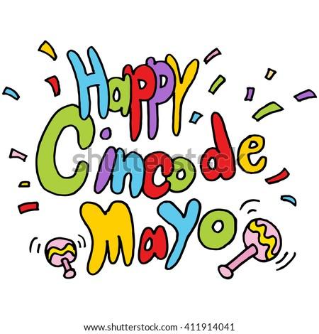An image of a Happy Cinco De Mayo text message. - stock vector