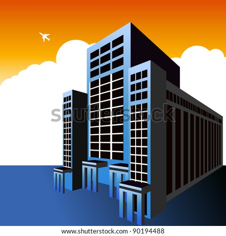 An image of a highrise office building with a plane flying overhead.