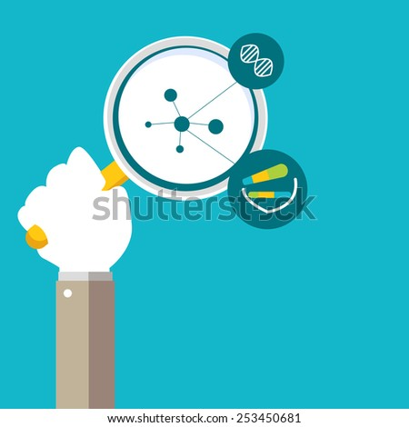 An image of a human genome research icon. - stock vector