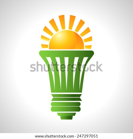 An image of a lightbulb that uses solar energy. - stock vector