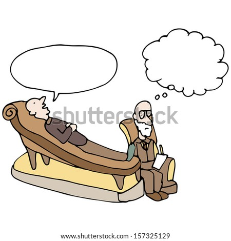 An image of a man in a therapy session. - stock vector