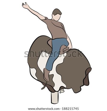 An image of a man riding a mechanical bull. - stock vector