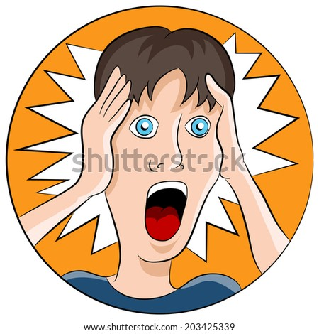 An image of a man with a shocked facial expression. - stock vector