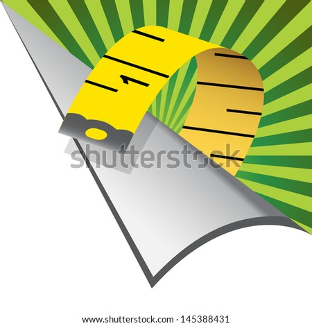 An image of a measuring tape page curl. - stock vector