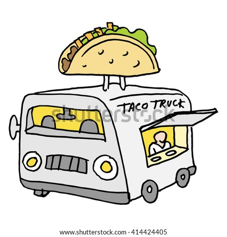 An image of a Mexican taco food truck. - stock vector