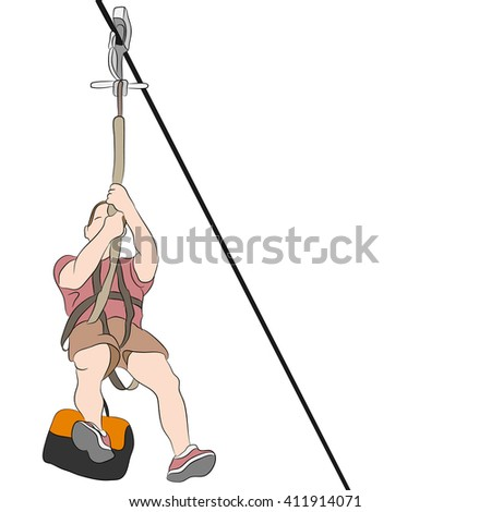 An image of a muscular man riding on a zip line.