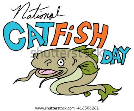 An image of a national catfish day. - stock vector