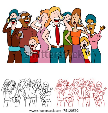 An image of a people sharing good news on their cell phones. - stock vector