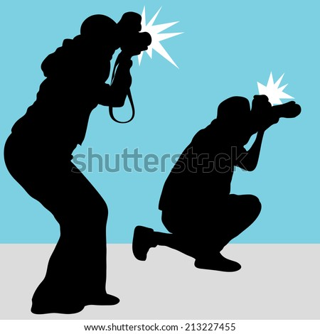 An image of a photography team. - stock vector