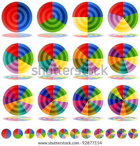 An image of a pie chart target icons. - stock vector