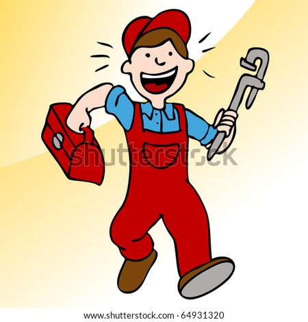 An image of a plumber running with a wrench and toolbox.