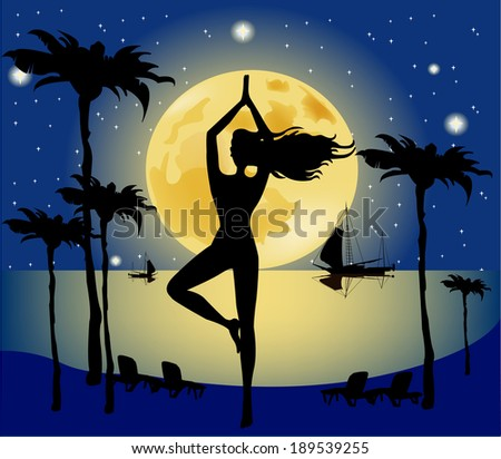 An image of a pretty woman doing yoga under a big pale moon  - stock vector