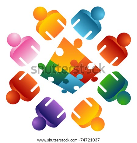 An image of a puzzle solving team people. - stock vector