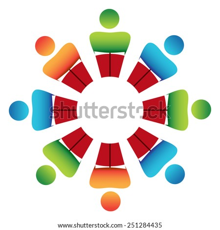 An image of a reading group discussion. - stock vector