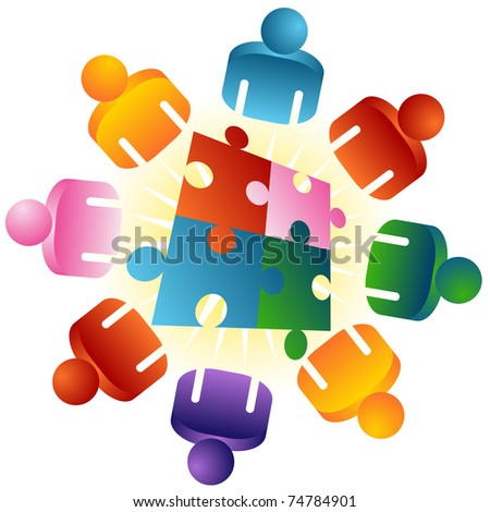 An image of a roundtable puzzle solving team people. - stock vector