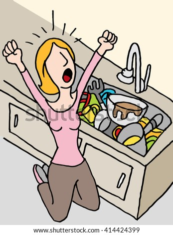 An image of a screaming woman doing dishes. - stock vector