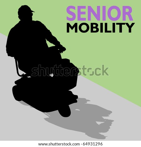 An image of a senior man riding his scooter. - stock vector