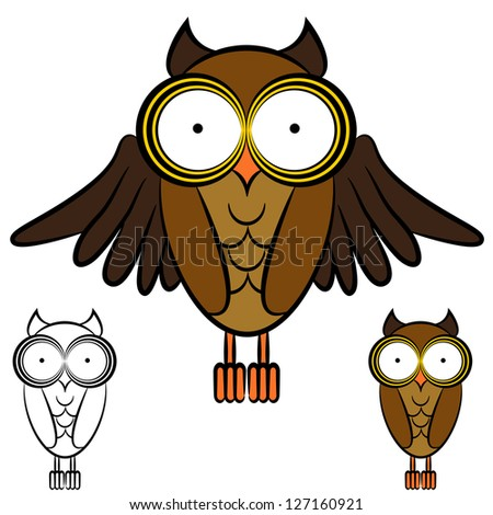 An image of a set of owls. - stock vector