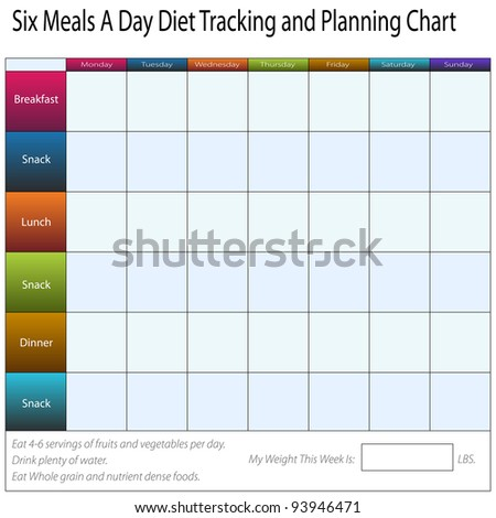 An image of a six meals a weekly day diet tracking and planning chart. - stock vector