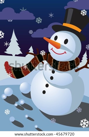 An image of a snowman wearing a scarf and a black hat - stock vector
