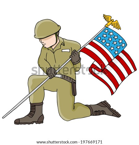 An image of a soldier holding an American flag. - stock vector