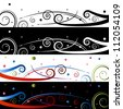 An image of a swirl celebration banner set. - stock vector