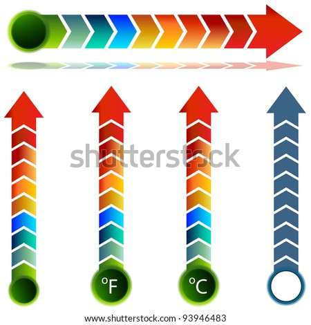 An image of a thermometer temperature arrow set. - stock vector