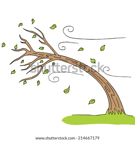 An image of a wind blown tree. - stock vector