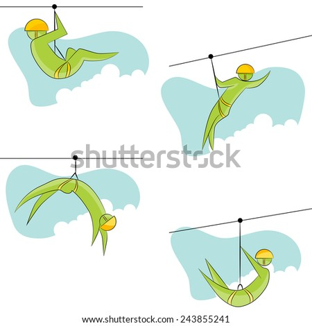 An image of a zip line rider icon set. - stock vector
