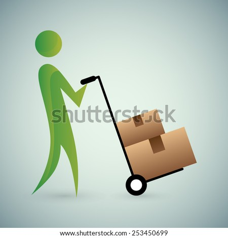 An image of an abstract person moving boxes. - stock vector