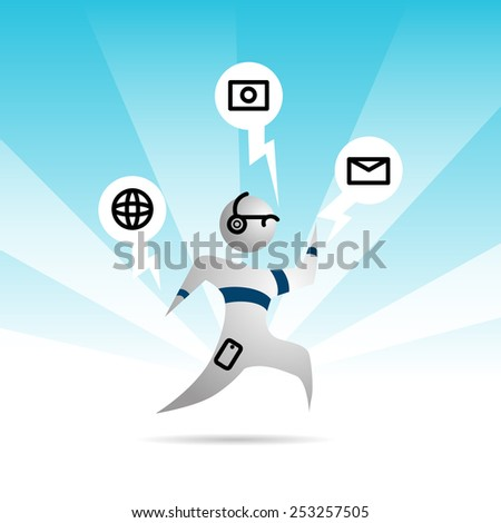 An image of an abstract person with wearable technology. - stock vector