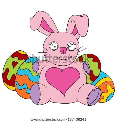 An image of an Easter bunny stuffed animal with decorated eggs.