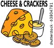 An image of cheese and crackers. - stock photo