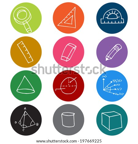 An image of colorful geometry icon symbols. - stock vector